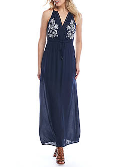 Double Zero Embroidered Floral Maxi Dress