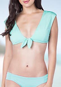 Key Solid Cap Sleeve Swim Top