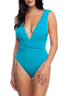 Solid Wrap Front One Piece Swimsuit
