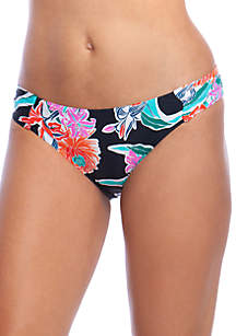 Tropic Wave Shirred Side Hipster Swim Bottoms