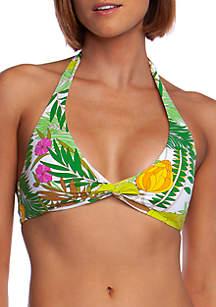 Trina Turk It's Bananas Wrap Front Swim Halter Bikini Top