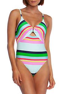 Trina Turk Deco Stripe High Leg One Piece Swimsuit