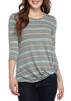 Red Camel® Striped Long Sleeve Knot Detail Tee
