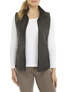 Solid Down Vest with Rib Knit