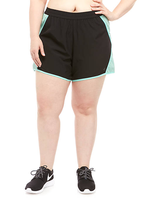 Plus Size Solid Woven Shorts