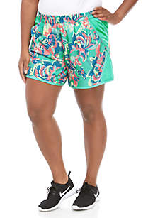 ZELOS Plus Size Printed Woven Shorts