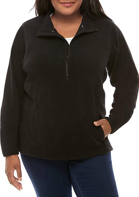 Plus Size 1/2 Zip Microfleece Jacket