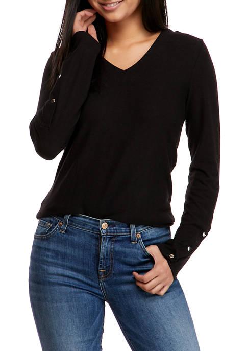 Catherine Malandrino Womens Long Snap Sleeve V-Neck Sweater
