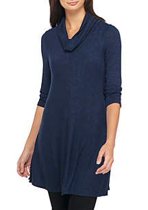 Three-Quarter Sleeve Cowl Neck Tunic With High Slit