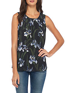 Sleeveless High Low Top With Pleat Neck