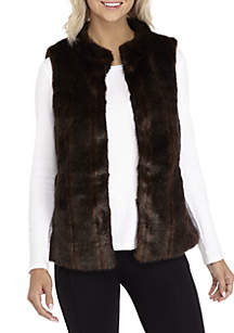 Faux Fur Vest with Collar