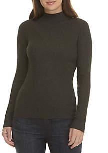 Crossing Rib-Stitch Turtleneck Sweater