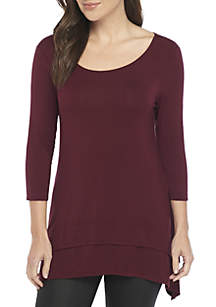 Three-Quarter Sleeve Scoop Neck Tunic With Side Slits