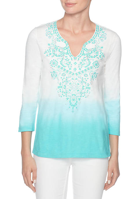 Joan Vass Three-Quarter Sleeve Embroidered V-neck Top