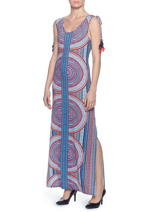 Joan Vass Stripe Sleeveless Maxi Dress