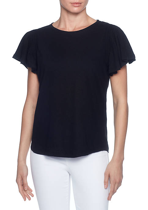 Joan Vass New York Short Sleeve Bateau Neck