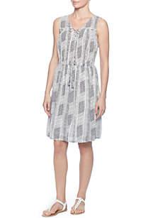 Stripe Lace-Up Ruffle Dress