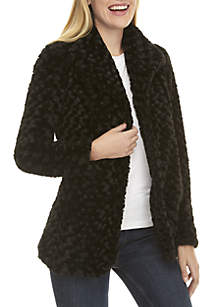 Faux Fur Draped Collar Jacket