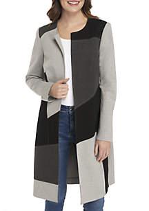 Colorblock Jewel Neck Coat