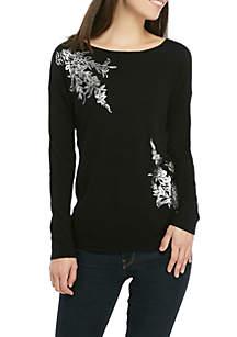 Floral Foil Print Sweater