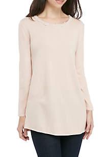 Pearl Neck Tunic Sweater