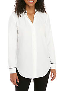 Solid Piped High Low Shirt