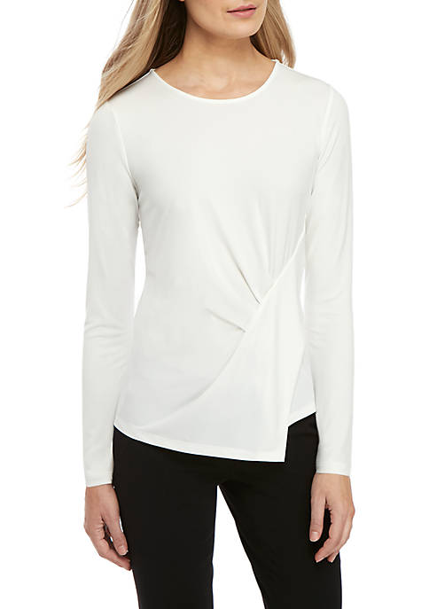 Joan Vass New York Asymmetrical Drape Knit Top