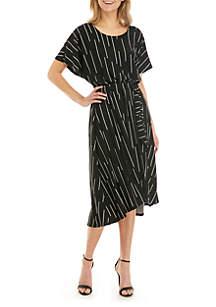 Joan Vass New York Tie Front Dolman Sleeve Dress