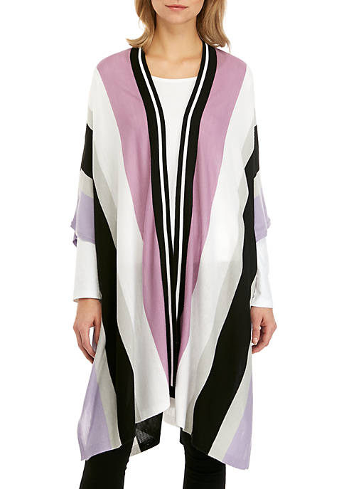 Joan Vass New York Multi Stripe Poncho Cardigan