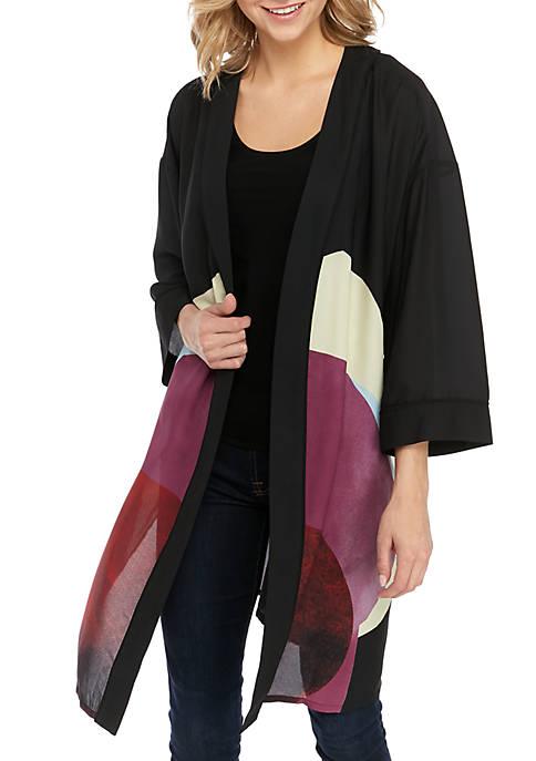 Joan Vass New York Graphic Abstract Kimono Jacket