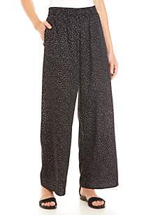 Joan Vass New York Pull On Printed Soft Woven Pants