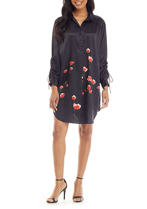 Joan Vass New York Rose Pullover Shirt Dress