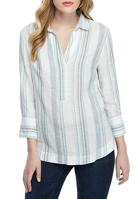 Joan Vass New York Roll Sleeve Stripe Linen