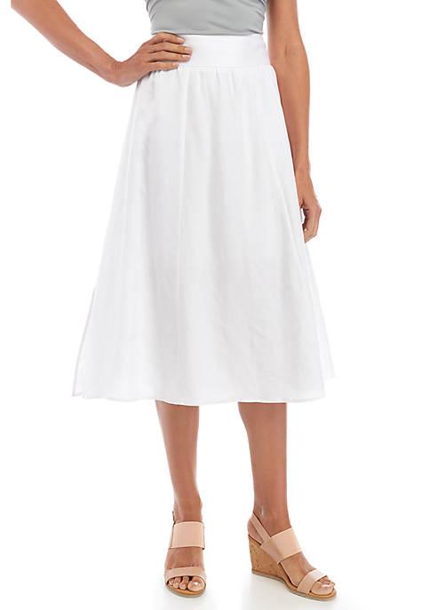 Joan Vass New York Smock Waist Linen Skirt
