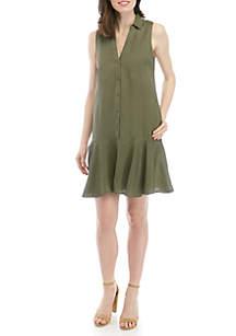 Joan Vass New York Sleeveless Flounce Hem Linen Dress