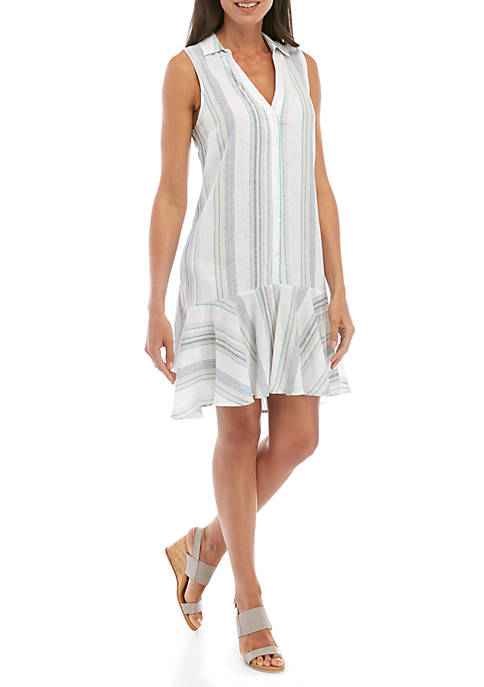 Sleeveless Flounce Hem Stripe Linen Dress