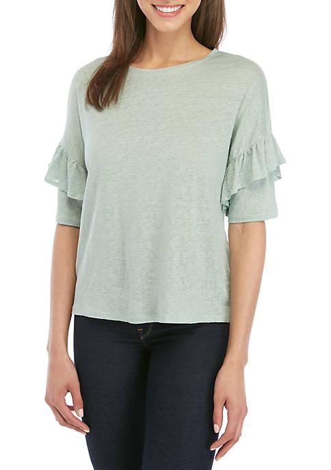 Joan Vass New York Ruffle Sleeve Drop Shoulder
