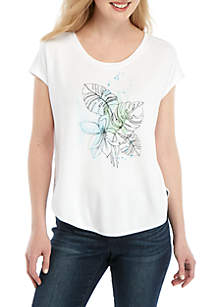 Joan Vass New York Watercolor Leaves Graphic T Shirt