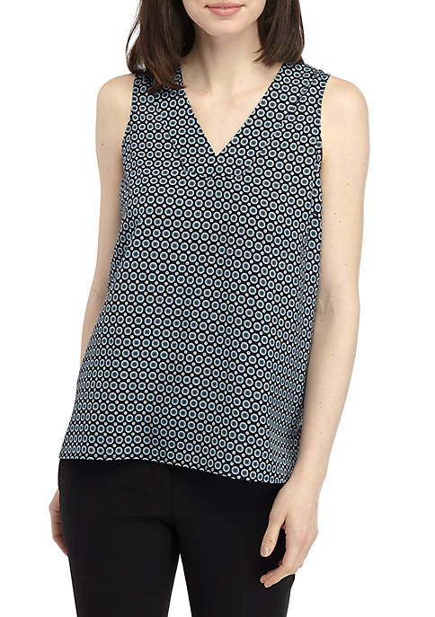 Joan Vass New York Geo Sleeveless V Neck