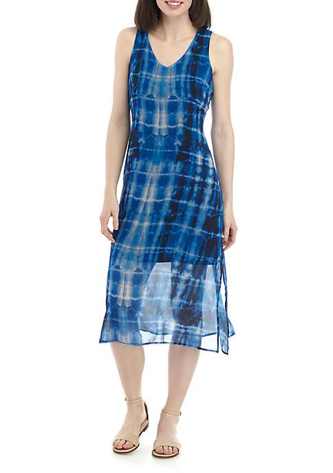 Joan Vass Tie Dye V Neck A Line