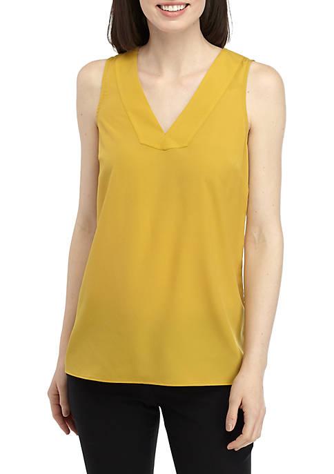 Joan Vass New York Solid Sleeveless V Neck