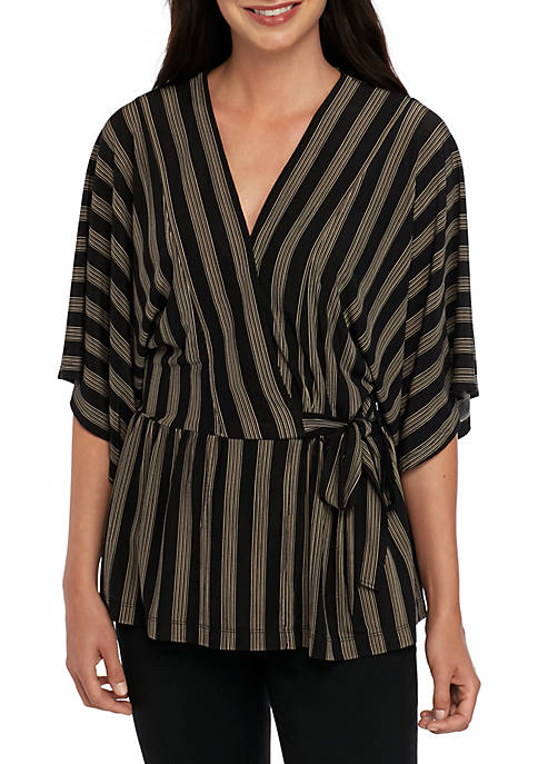Joan Vass New York Stripe Faux Wrap Peplum