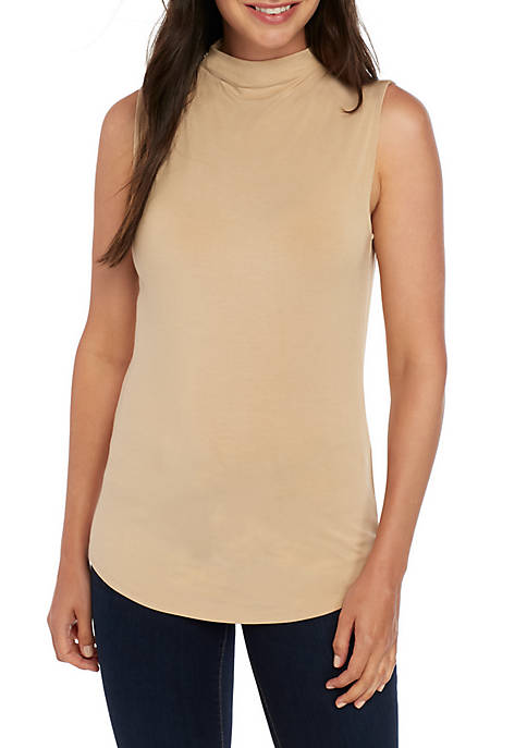 Joan Vass New York Mock Neck Knit Top