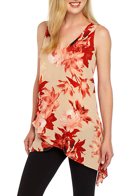 Joan Vass New York Floral Shark Bite Hem