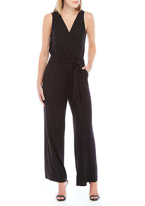 Joan Vass New York Solid Surplice Jumpsuit