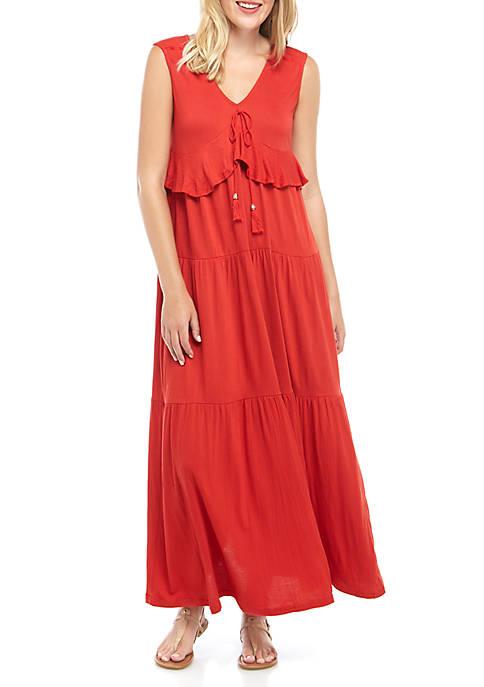 Joan Vass New York Tiered Gauze Maxi Dress