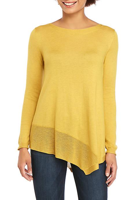 Asymmetrical Pointelle Sweater
