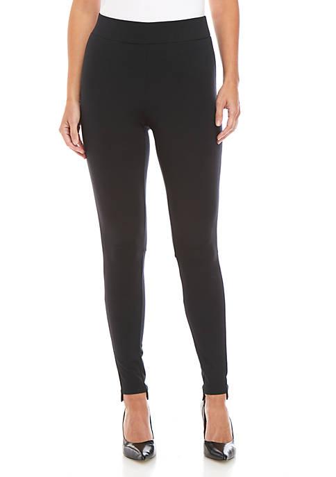 Joan Vass New York Step Hem Solid Leggings