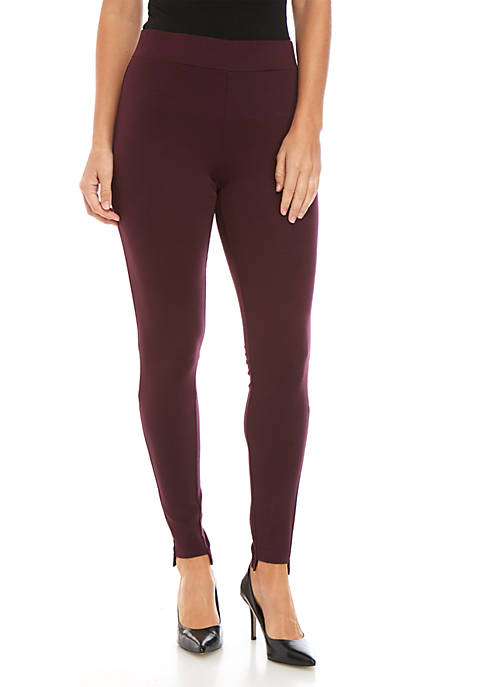 Joan Vass New York Step Hem Solid Leggings