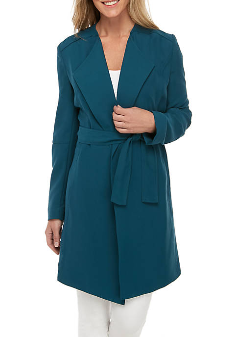 Joan Vass New York Drape Front Belted Trench